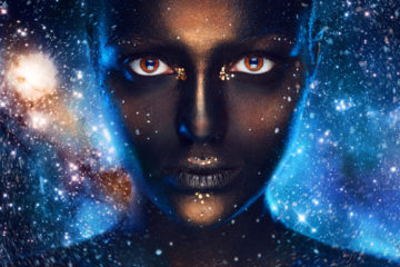 Space make up on female face